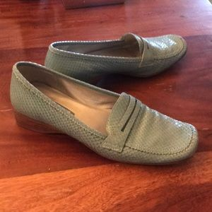 Teal snakeskin loafers Enzo angiolini